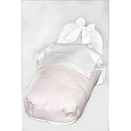 Capazo lana raya rosa