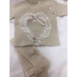 Conjunto de jersey y polaina arena