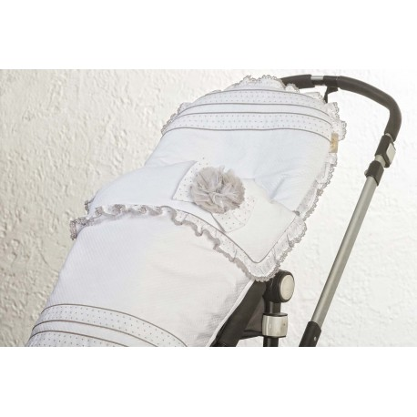 Silla piqué blanco/muselina gris