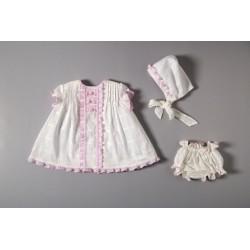 Conjunto vestido, braguita y capota 33009 Cocote