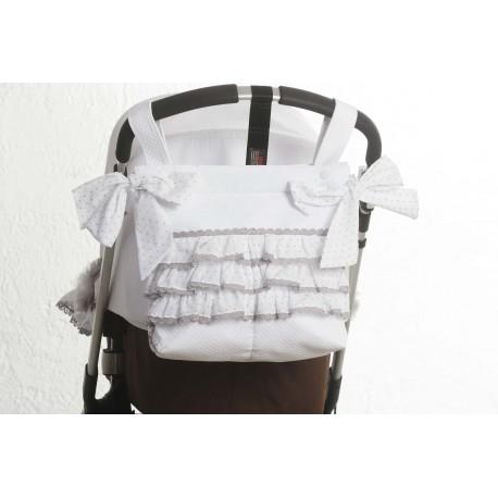 Panera piqué blanco/muselina gris