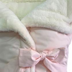 Capazo arrullo liso rosa-piel marfil