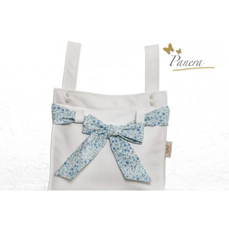 Panera polipiel blanca/lino azul