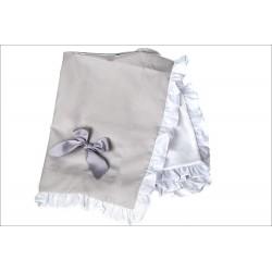Manta piqué gris/blanco