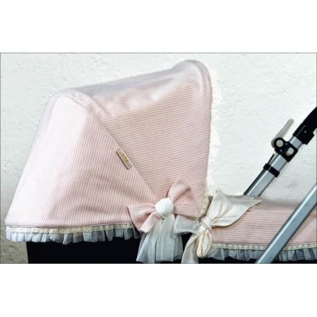 Capota lana raya rosa