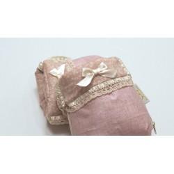 Manoplas lino encerado rosa