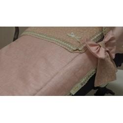 Capazo con colcha lino encerado rosa