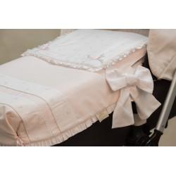 Capazo con colcha piqué rosa/muselina